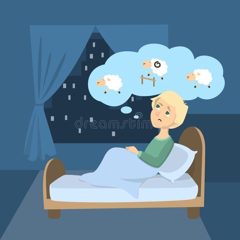 Hombre con insomnio stock de ilustración