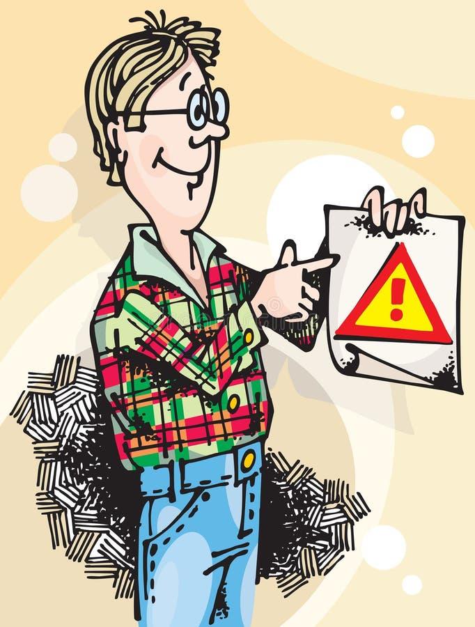 Hombre con la atención Sign_01 libre illustration