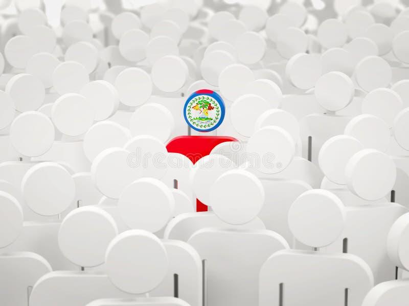 Hombre con la bandera de Belice en una muchedumbre stock de ilustración