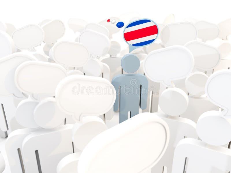 Hombre con la bandera de Costa Rica en una muchedumbre ilustración del vector