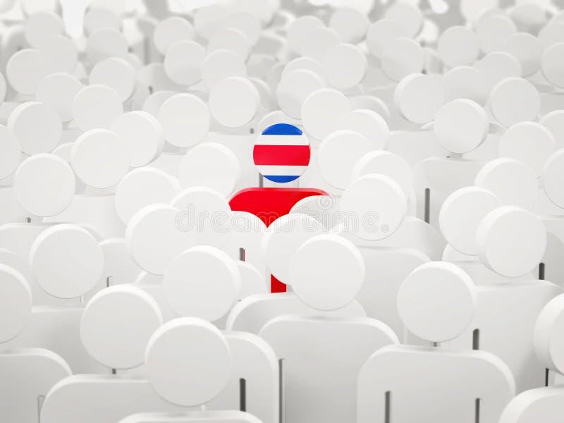Hombre con la bandera de Costa Rica en una muchedumbre stock de ilustración