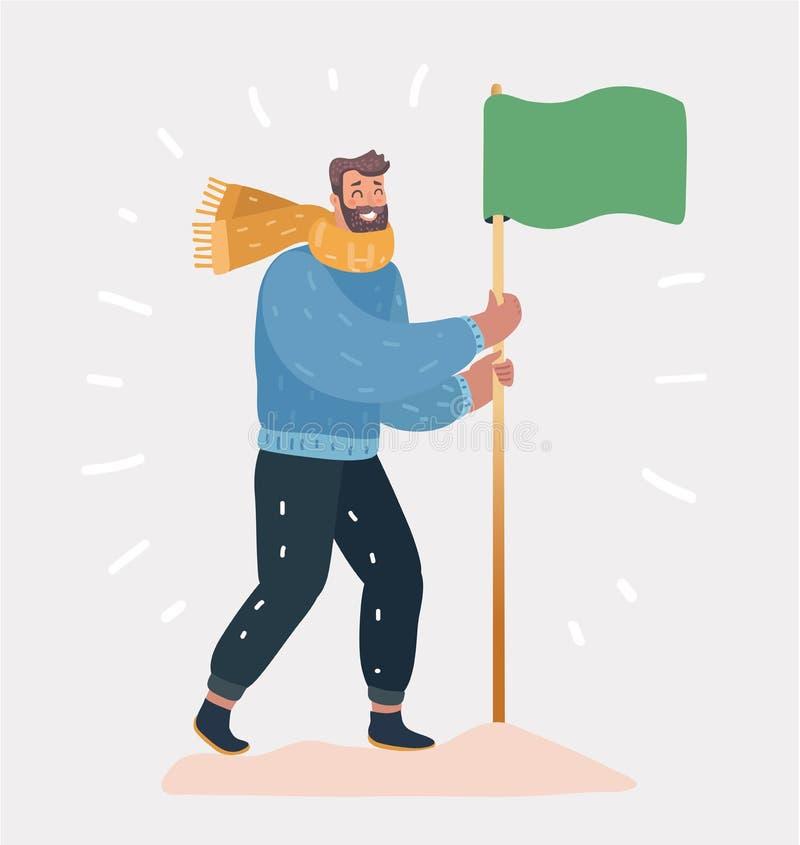 Hombre con la bandera en un fondo blanco libre illustration