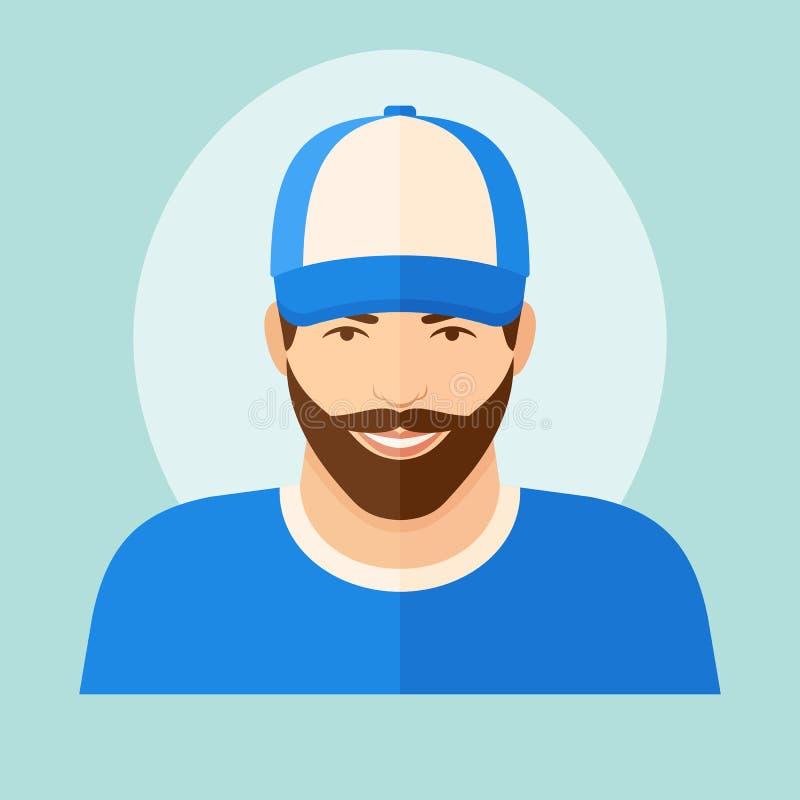 Hombre con la barba en icono plano del estilo de la gorra de b?isbol Ilustraci?n del vector foto de archivo