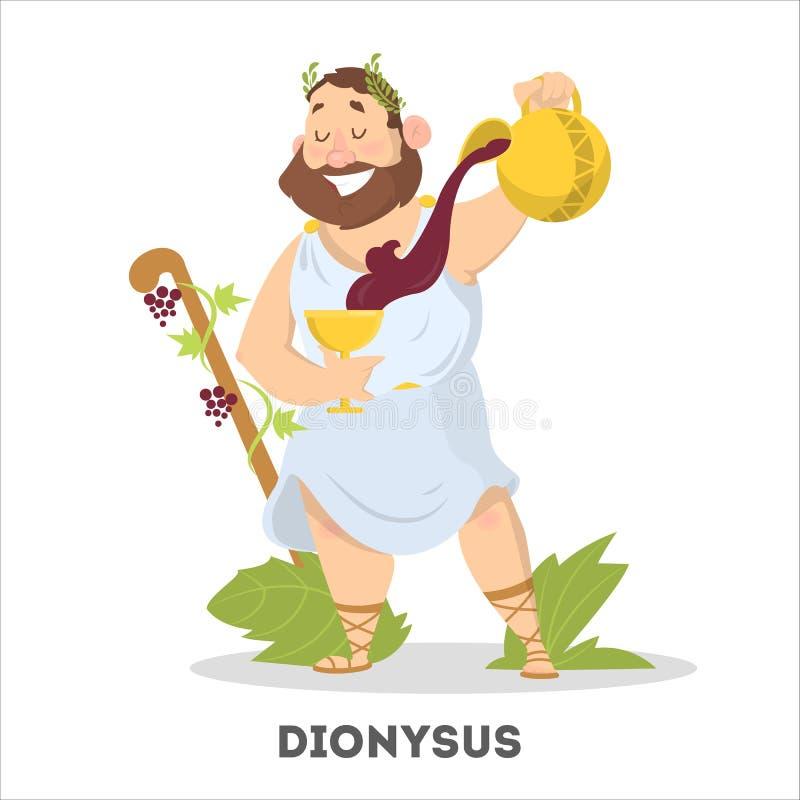 Hombre con la barba y vino de la mitología de Grecia libre illustration