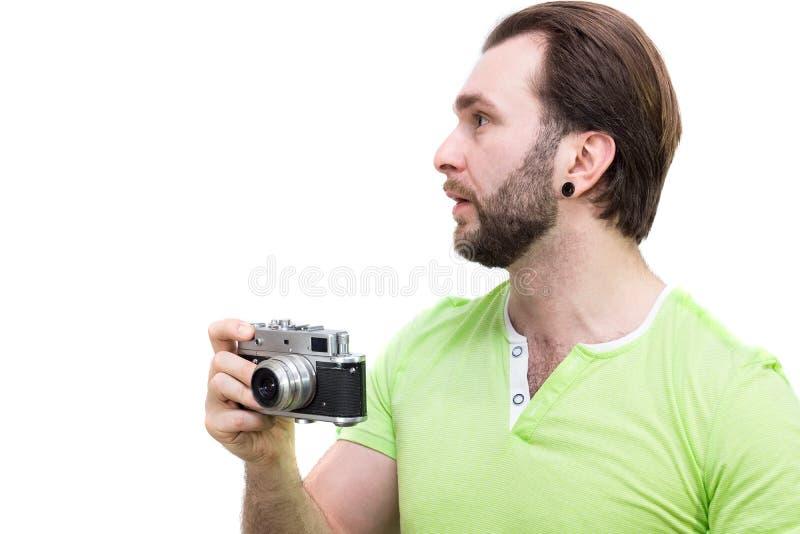 Hombre con la cámara imágenes de archivo libres de regalías