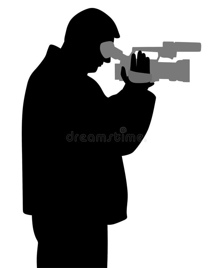 Hombre con la cámara de vídeo que mira a través del visor stock de ilustración