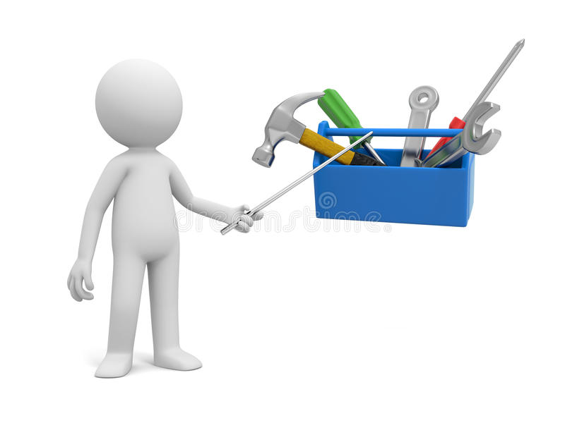 Hombre con la caja de herramientas stock de ilustración
