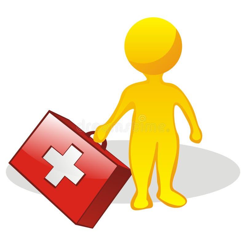 Hombre con la caja de los primeros auxilios libre illustration