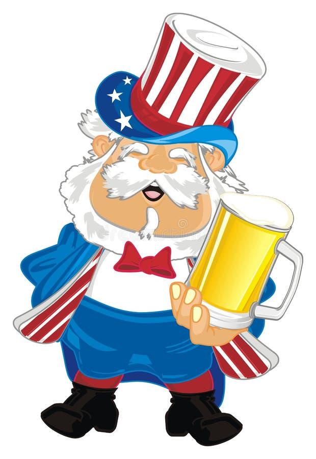 Hombre con la cerveza ilustración del vector