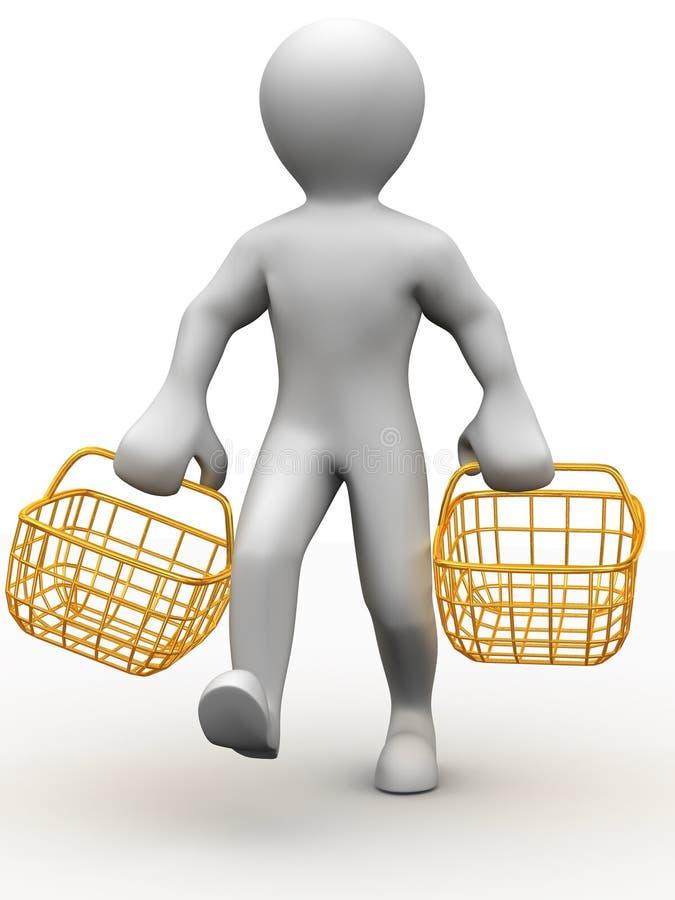 Hombre con la cesta de dos consumidores stock de ilustración