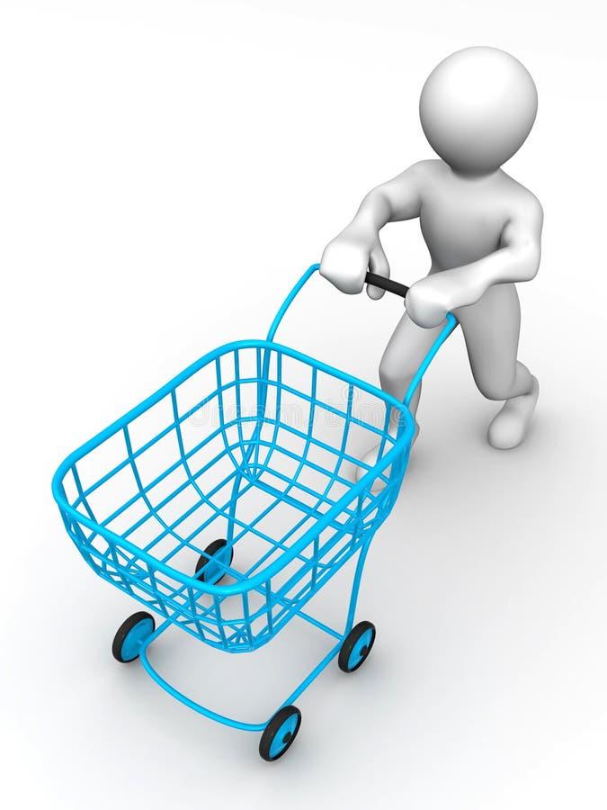 Hombre con la cesta del consumidor stock de ilustración