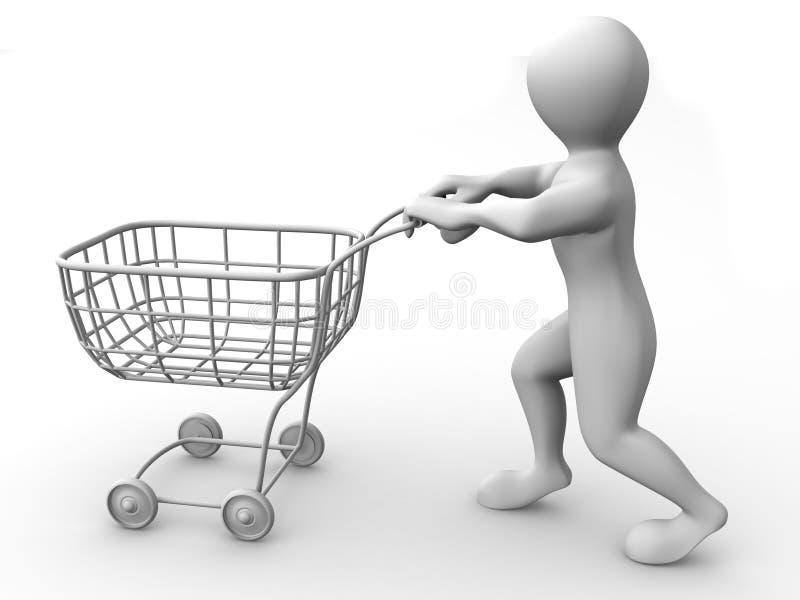 Hombre con la cesta del consumidor ilustración del vector