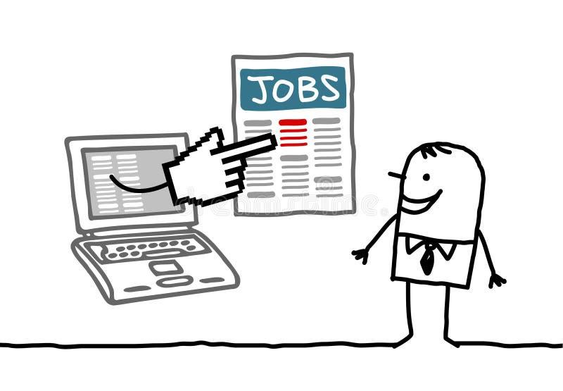 Hombre con la computadora portátil que busca un trabajo stock de ilustración