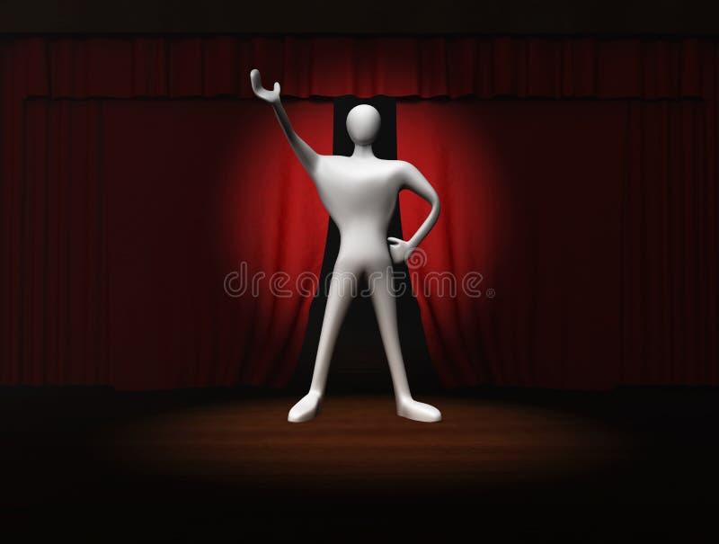 Hombre con la cortina roja y proyector en etapa stock de ilustración