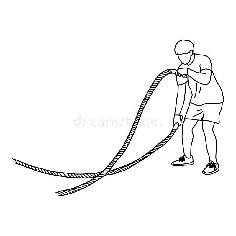 Hombre con la cuerda de la batalla que hace la mano del garabato del bosquejo del ejemplo del vector del ejercicio dibujada con l libre illustration