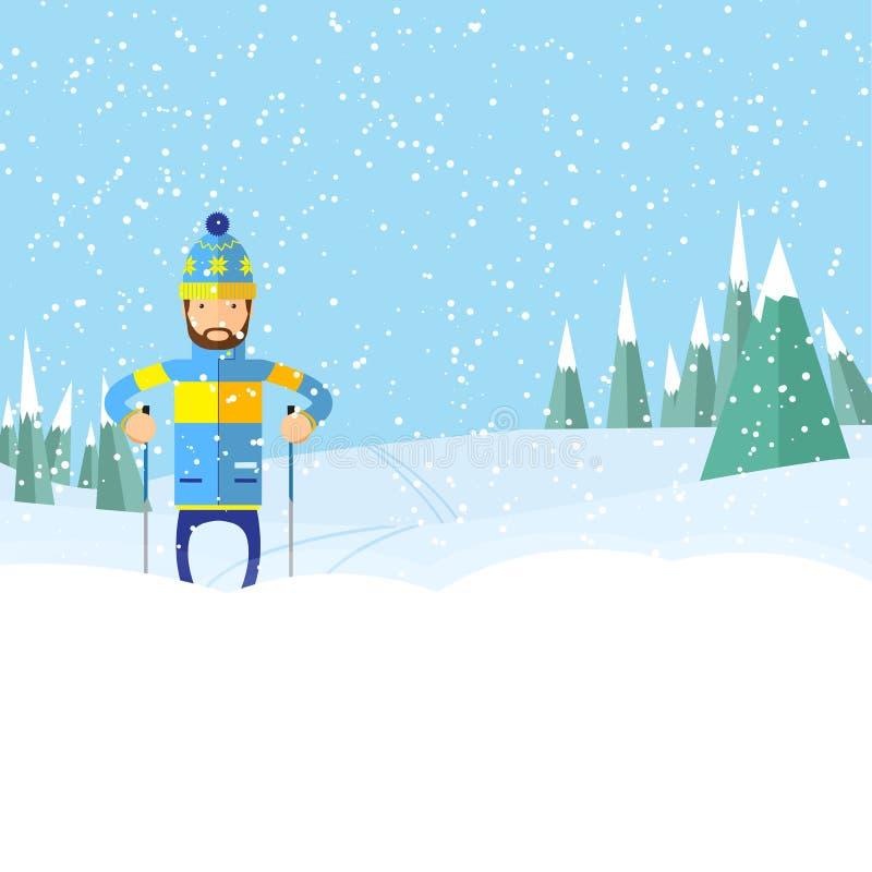 Hombre con la diapositiva de la barba en manera de la nieve fotografía de archivo libre de regalías