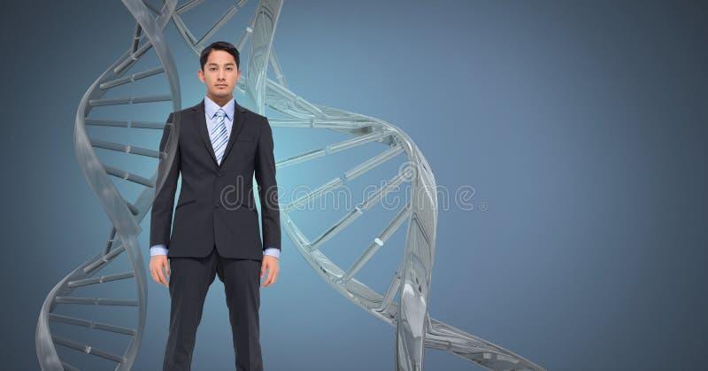 Hombre con la DNA genética foto de archivo libre de regalías