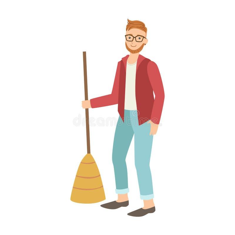 Hombre con la escoba que barre el piso limpiar adulto de - Con que limpiar los cristales ...