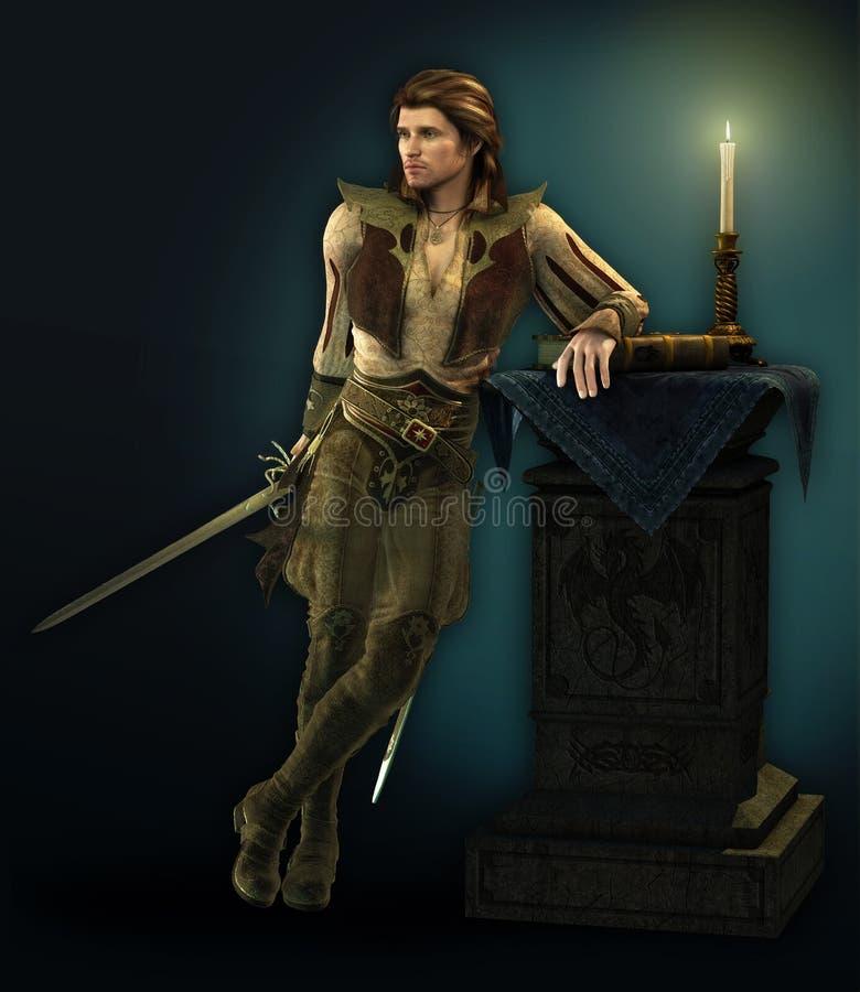 Hombre con la espada stock de ilustración