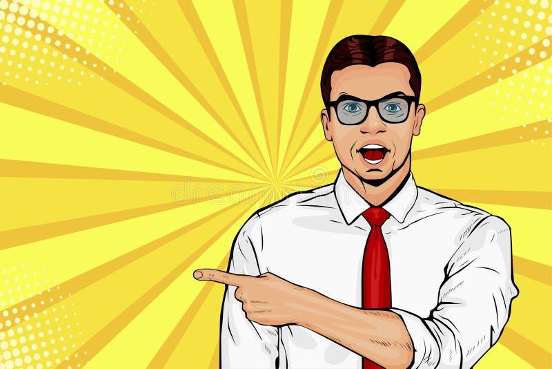 Hombre con la expresión facial chocada Demostración masculina sorprendida por el finger Ejemplo del arte pop del vector libre illustration