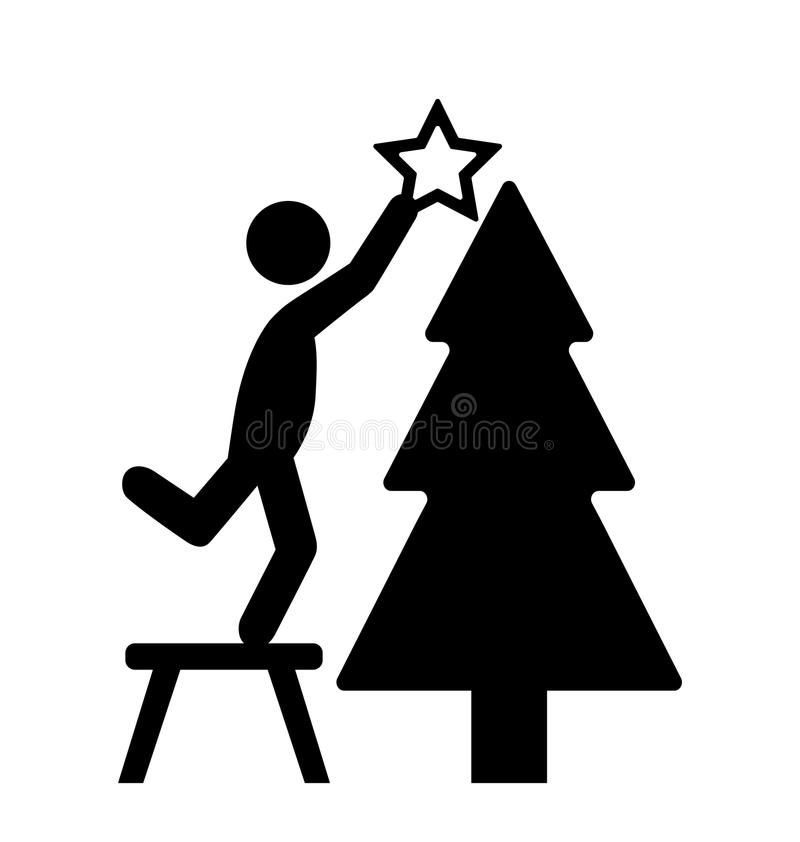 Hombre con la ISO del icono del pictograma del negro plano de la decoración del árbol de navidad stock de ilustración