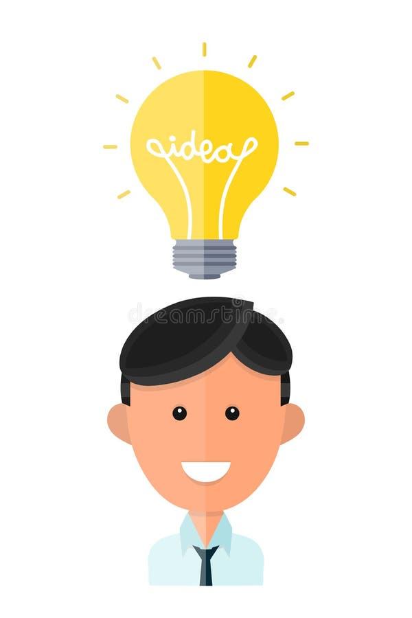 Hombre con la lámpara, concepto de la idea libre illustration