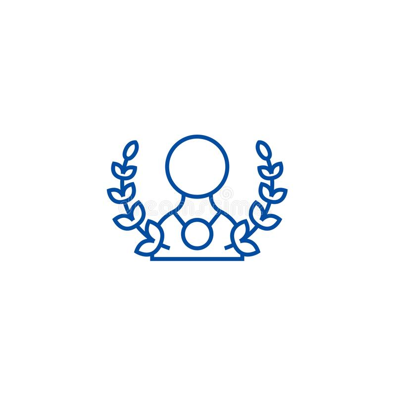 Hombre con la línea concepto de la guirnalda y de la medalla del icono Hombre con el símbolo plano del vector de la guirnalda y d ilustración del vector