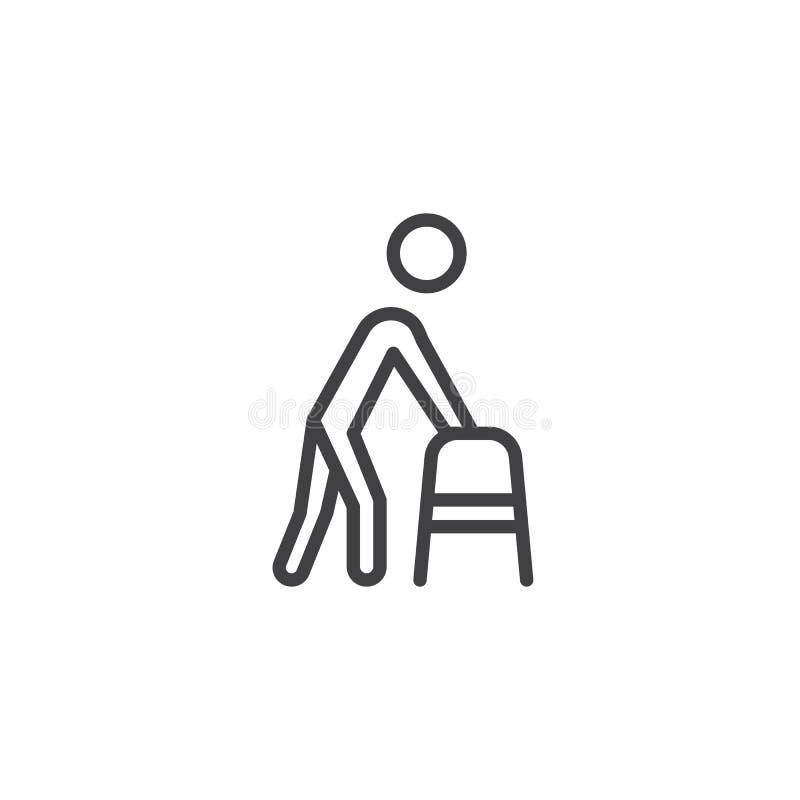 Hombre con con la línea icono del caminante stock de ilustración