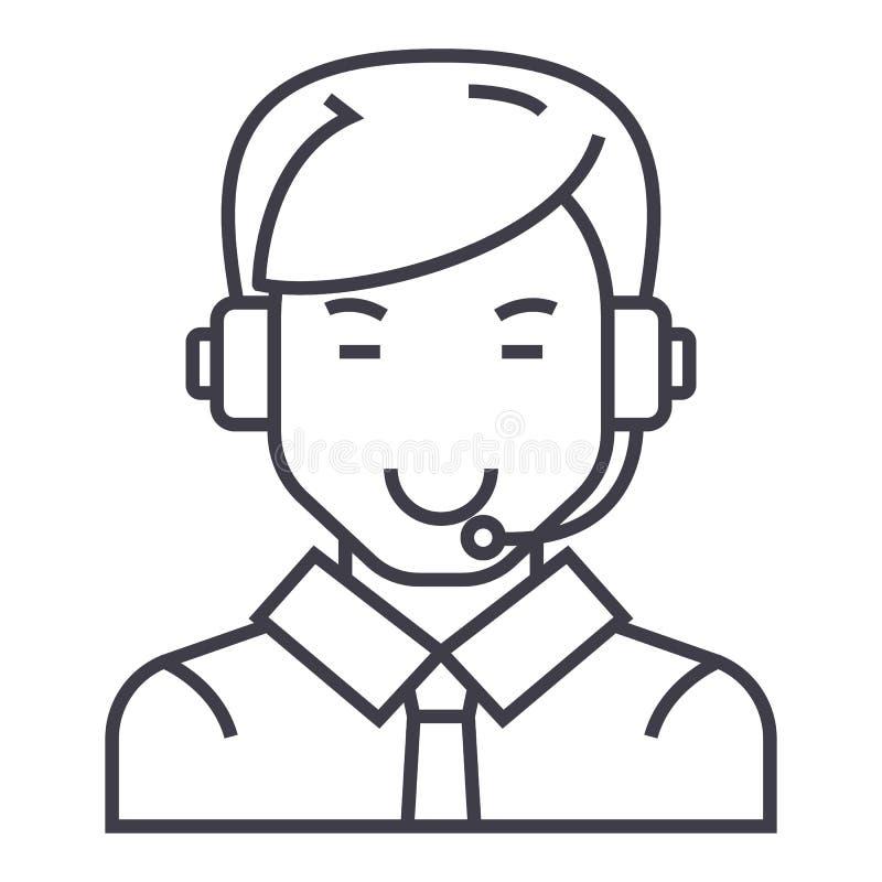 Hombre con la línea icono, muestra, ejemplo del vector de las auriculares en el fondo, movimientos editable ilustración del vector