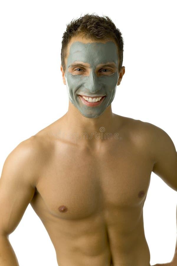 Hombre con la máscara en cara fotos de archivo
