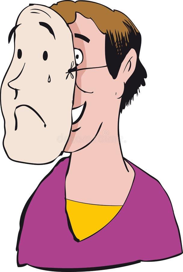 Hombre con la máscara triste ilustración del vector