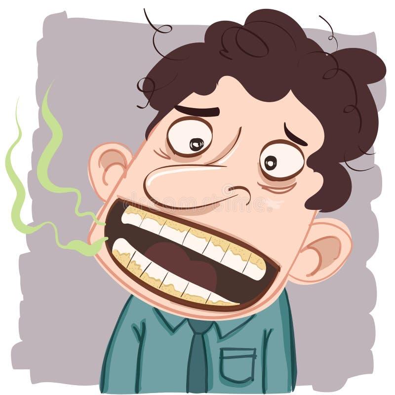 Hombre con la mala respiración stock de ilustración