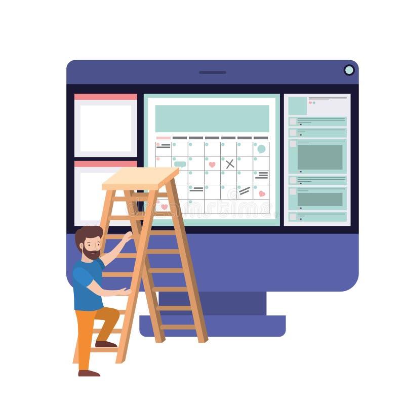 Hombre con la mesa y la escalera del ordenador libre illustration