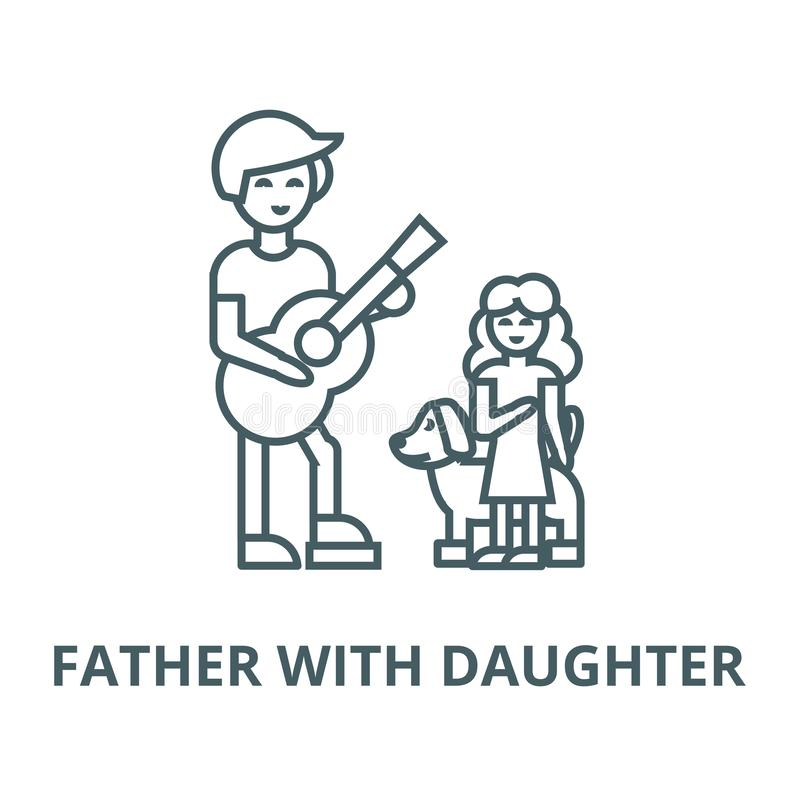 Hombre con la muchacha y el perro, padre con la línea icono, concepto linear, muestra del esquema, símbolo del vector de la hija stock de ilustración