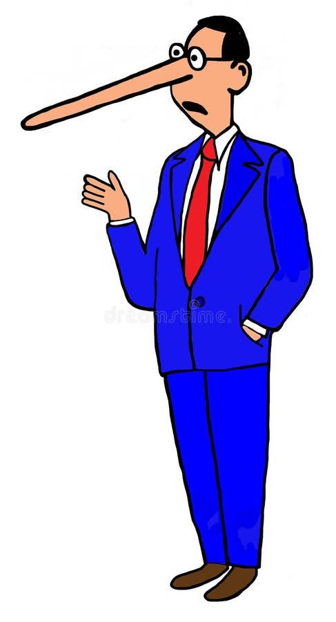 Hombre con la nariz larga stock de ilustración