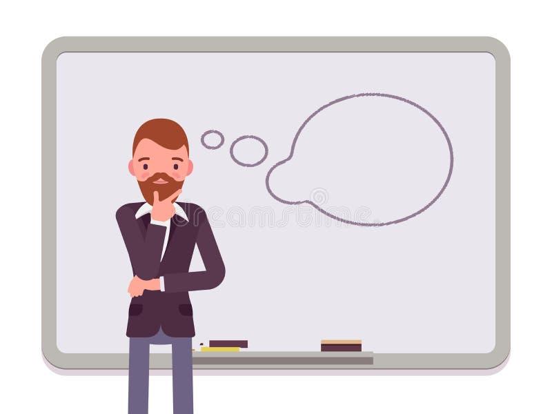 Hombre con la nube exhausta del diálogo stock de ilustración