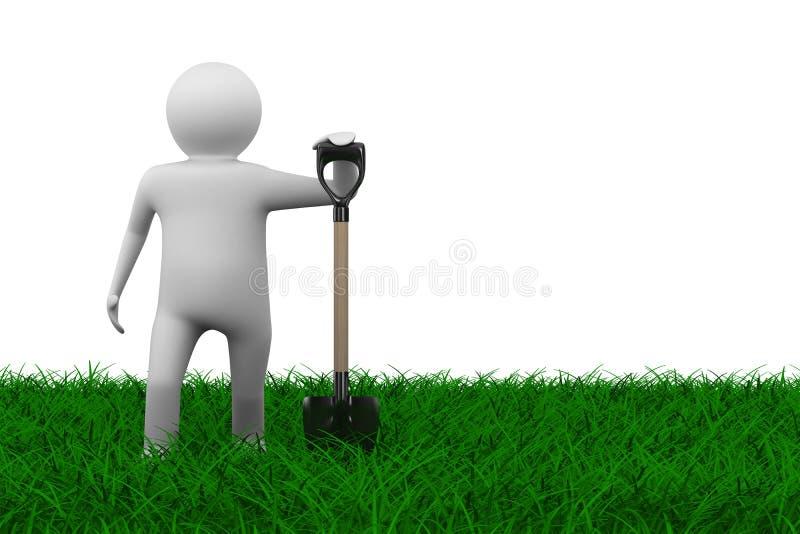 Hombre con la pala en hierba stock de ilustración