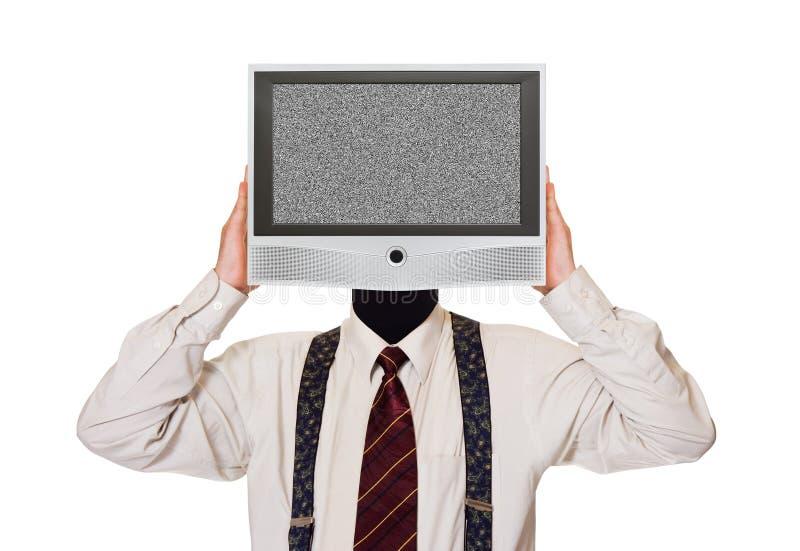 Hombre con la pantalla ruidosa de la TV para la cabeza fotos de archivo