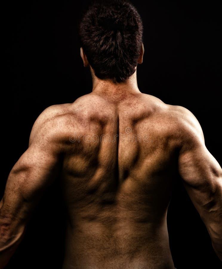 Hombre con la parte posterior fuerte muscular fotografía de archivo