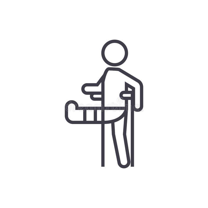 Hombre con la pierna quebrada, línea icono, muestra, ejemplo del vector de la muleta del pie del yeso en el fondo, movimientos ed libre illustration