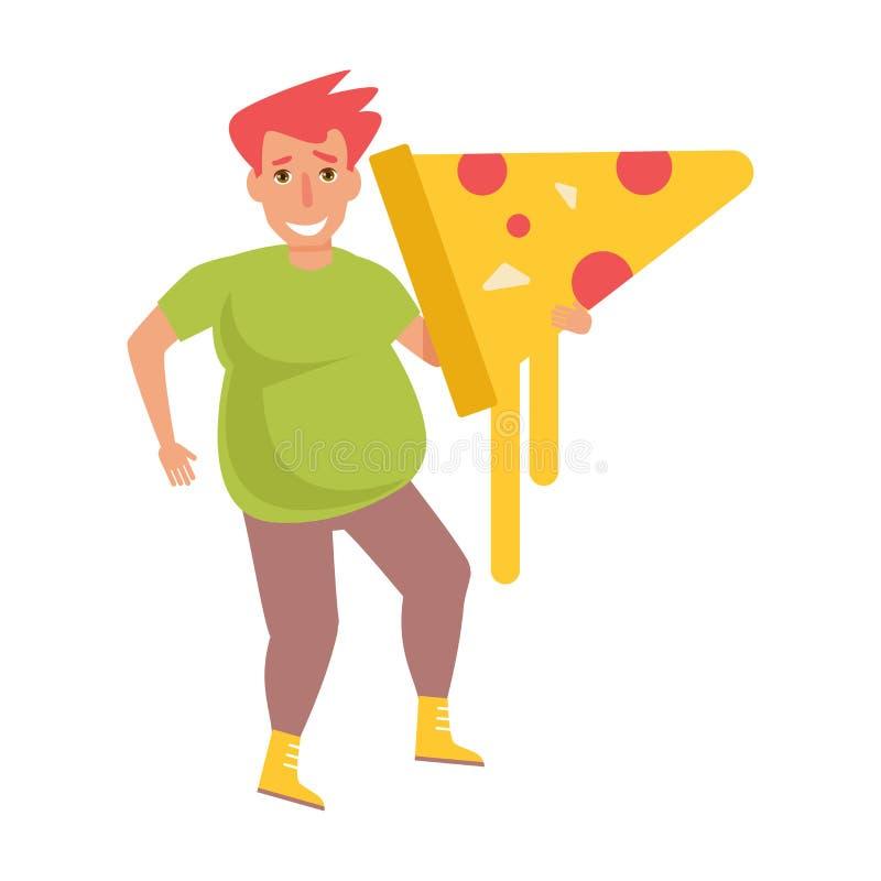 Hombre con la pizza Vector stock de ilustración
