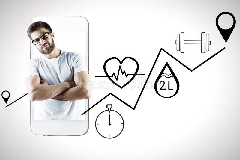 Hombre con la salud app fotos de archivo libres de regalías