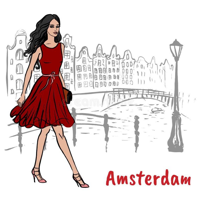 Hombre con la tableta en Amsterdam ilustración del vector