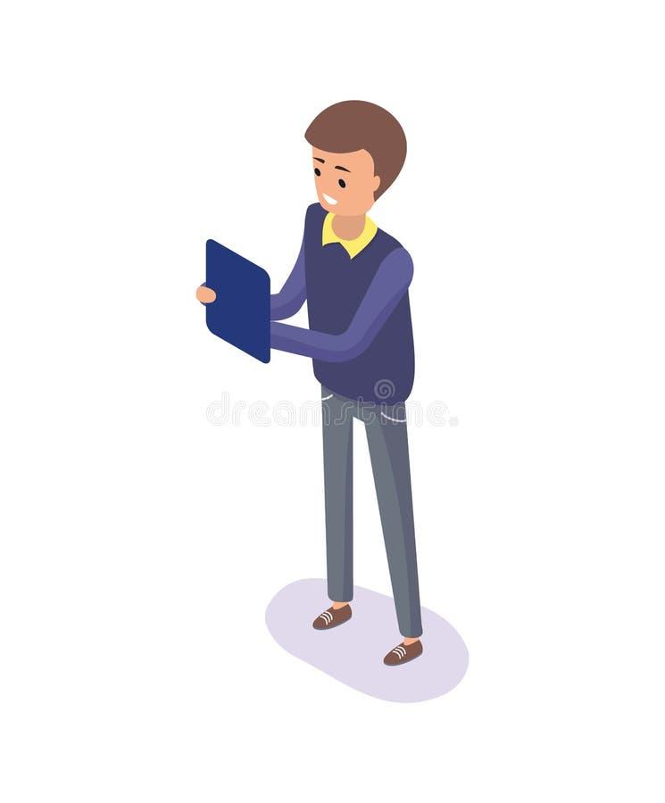 Hombre con la tableta, tablero a disposición del trabajador de sexo masculino ilustración del vector