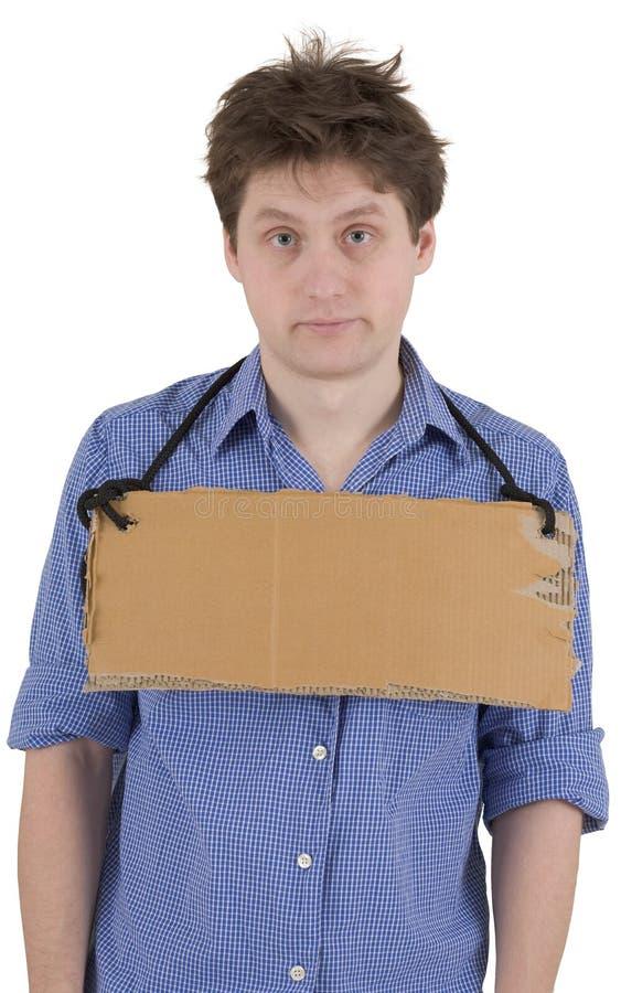 Hombre con la tablilla del cartón foto de archivo