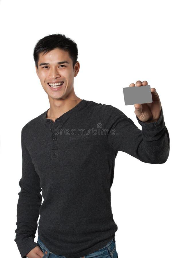 Hombre con la tarjeta de visita foto de archivo