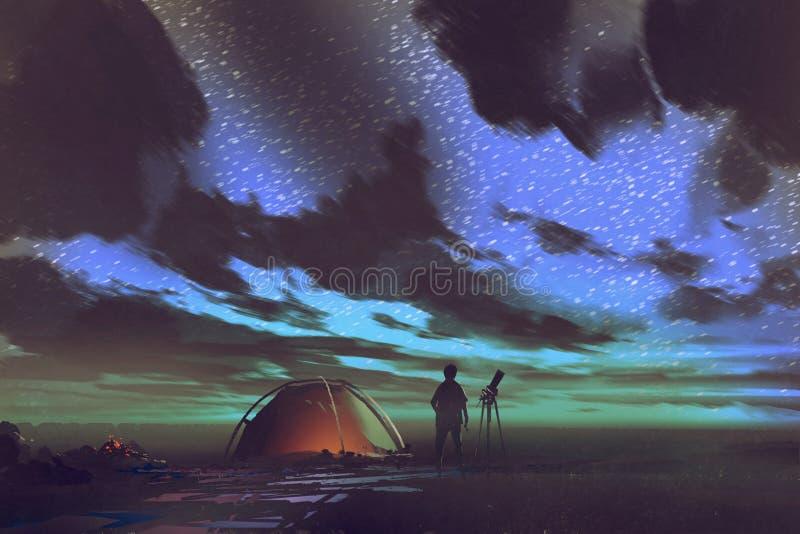 Hombre con la tienda que hace una pausa del telescopio que mira el cielo la noche stock de ilustración