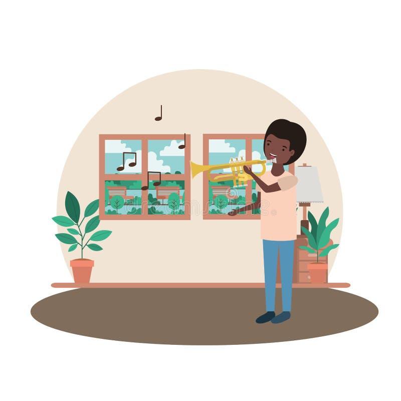 Hombre con la trompeta en carácter del avatar de la sala de estar stock de ilustración