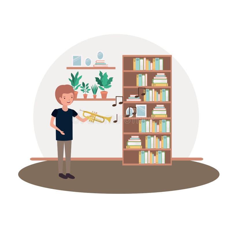 Hombre con la trompeta en carácter del avatar de la sala de estar libre illustration