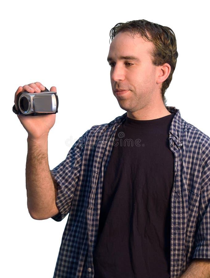 Hombre con la videocámara imagenes de archivo